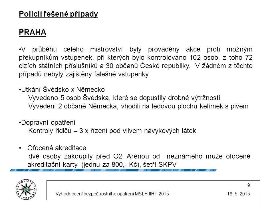 18. 5. 2015Vyhodnocení bezpečnostního opatření MSLH IIHF 2015 9 Policií řešené případy PRAHA V průběhu celého mistrovství byly prováděny akce proti mo