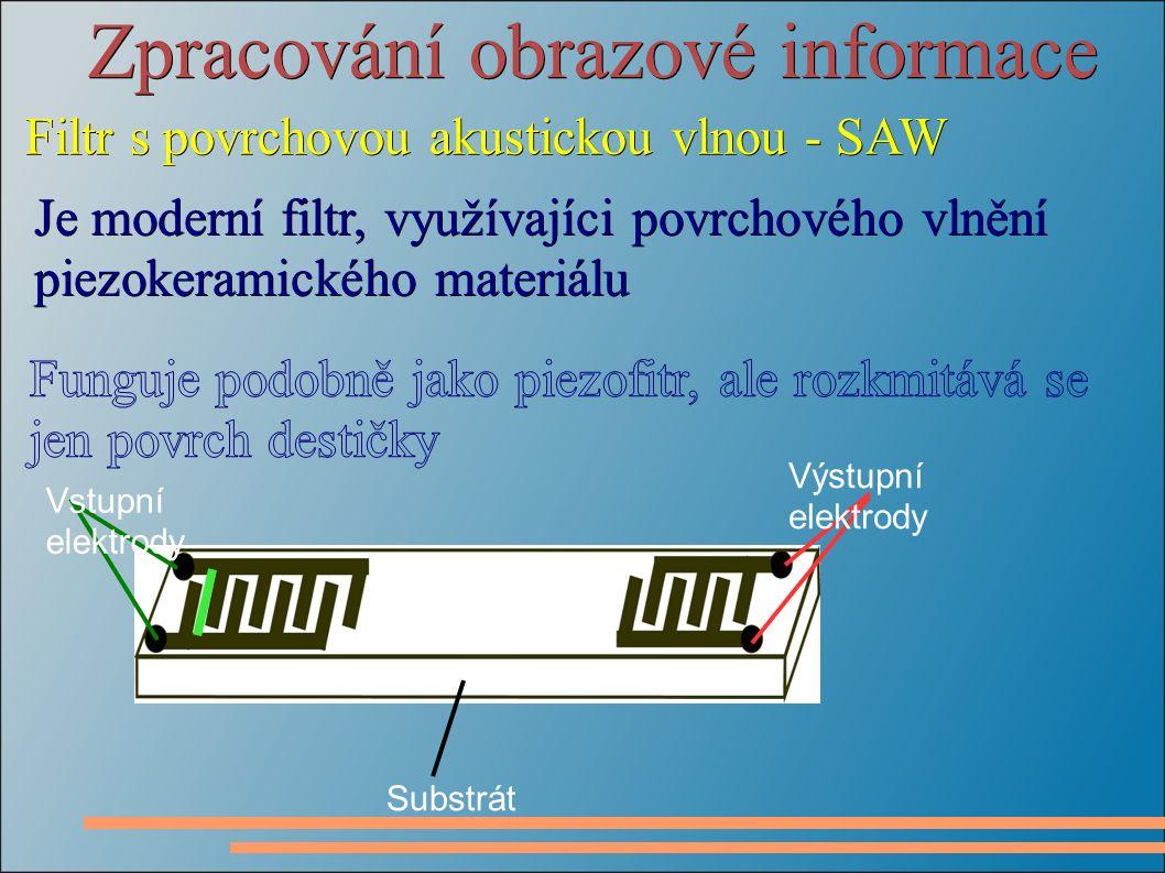 Zpracování obrazové informace Filtr s povrchovou akustickou vlnou - SAW Je moderní filtr, využívajíci povrchového vlnění piezokeramického materiálu Vstupní elektrody Výstupní elektrody Substrát