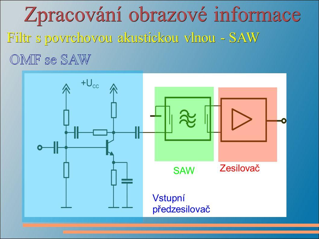 Zpracování obrazové informace Filtr s povrchovou akustickou vlnou - SAW SAW Vstupní předzesilovač Zesilovač
