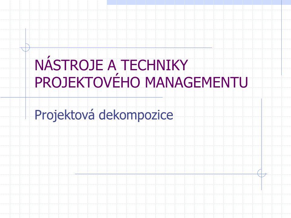 NÁSTROJE A TECHNIKY PROJEKTOVÉHO MANAGEMENTU Projektová dekompozice