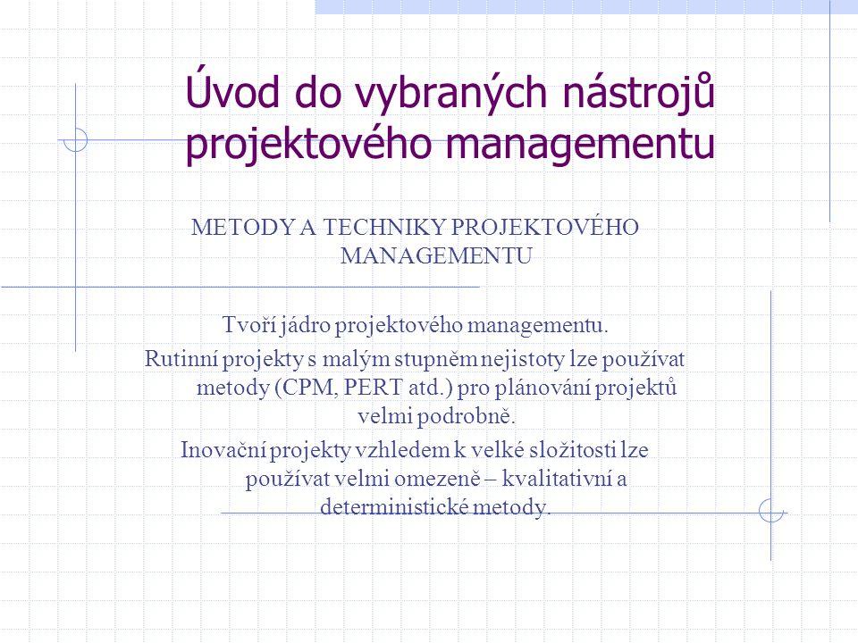 Úvod do vybraných nástrojů projektového managementu METODY A TECHNIKY PROJEKTOVÉHO MANAGEMENTU Tvoří jádro projektového managementu.