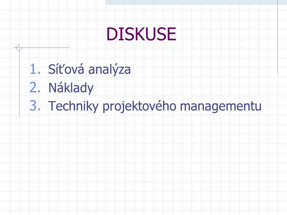 DISKUSE 1. Síťová analýza 2. Náklady 3. Techniky projektového managementu