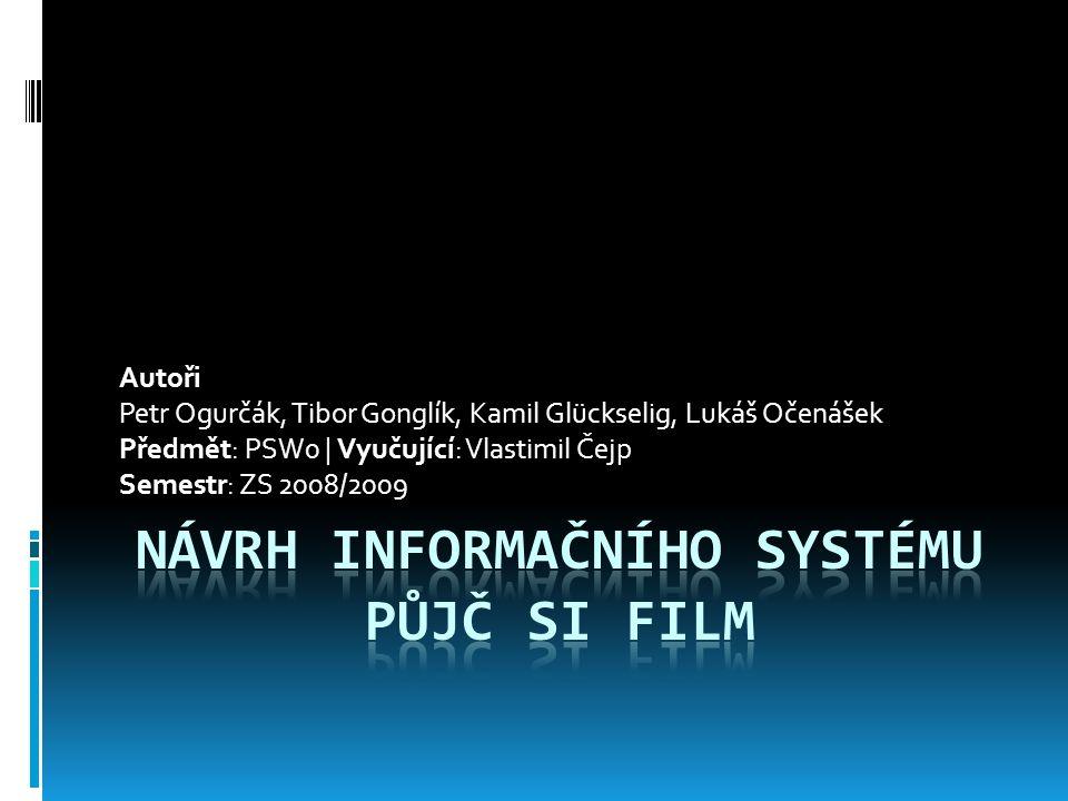 Autoři Petr Ogurčák, Tibor Gonglík, Kamil Glückselig, Lukáš Očenášek Předmět: PSW0 | Vyučující: Vlastimil Čejp Semestr: ZS 2008/2009