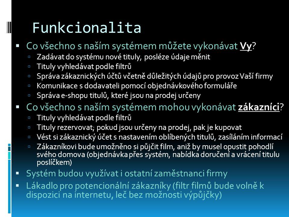 Funkcionalita  Co všechno s naším systémem můžete vykonávat Vy.