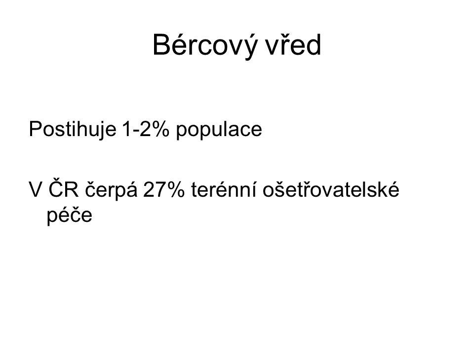 Bércový vřed Postihuje 1-2% populace V ČR čerpá 27% terénní ošetřovatelské péče