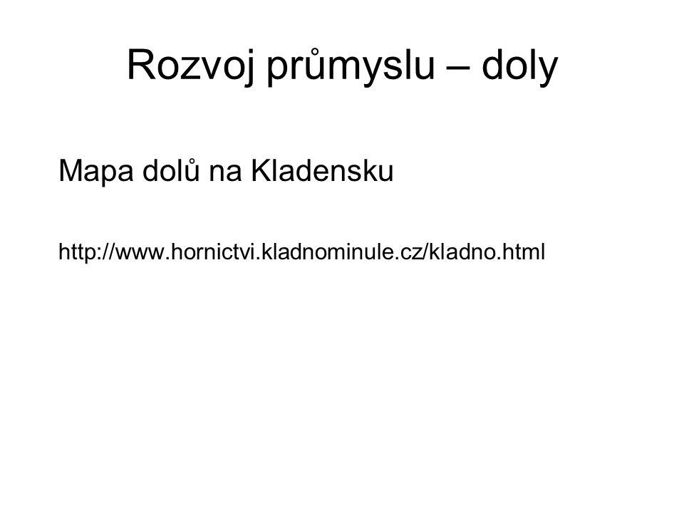 Rozvoj průmyslu – doly Mapa dolů na Kladensku http://www.hornictvi.kladnominule.cz/kladno.html