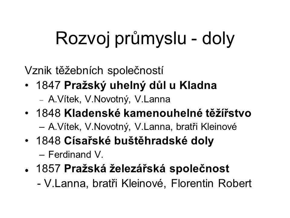 Rozvoj průmyslu - doly Vznik těžebních společností 1847 Pražský uhelný důl u Kladna  A.Vítek, V.Novotný, V.Lanna 1848 Kladenské kamenouhelné těžířstv