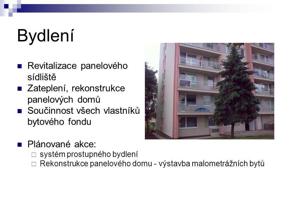 Bydlení Revitalizace panelového sídliště Zateplení, rekonstrukce panelových domů Součinnost všech vlastníků bytového fondu Plánované akce:  systém prostupného bydlení  Rekonstrukce panelového domu - výstavba malometrážních bytů