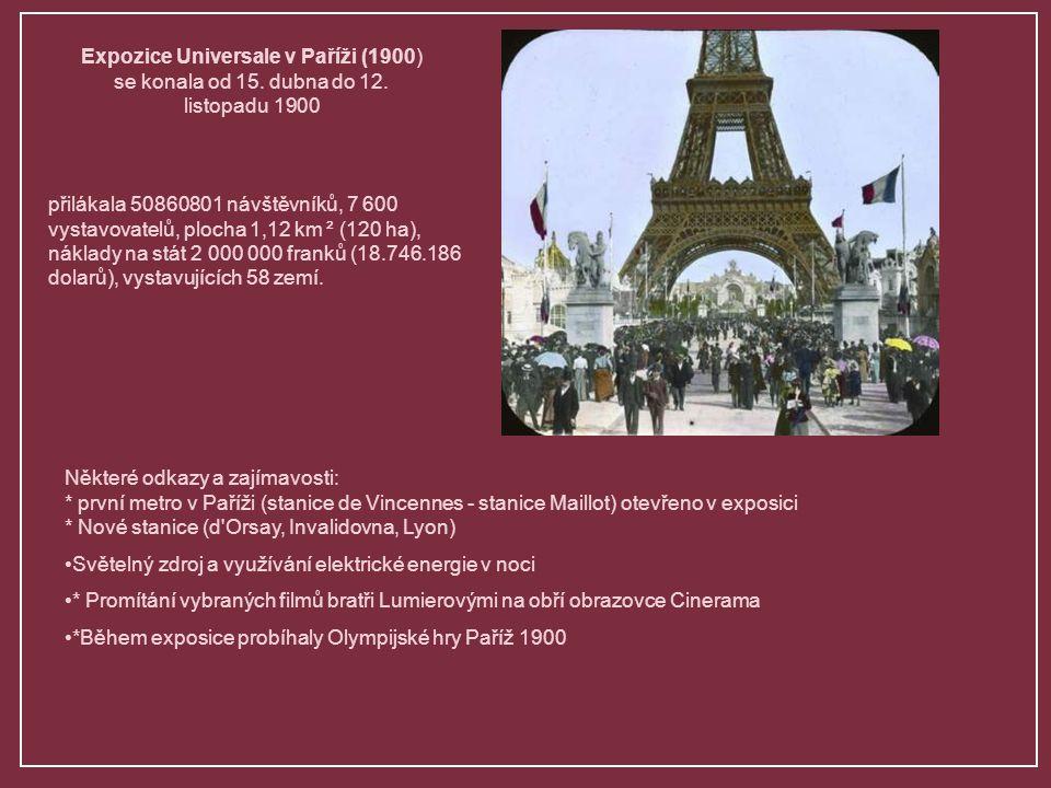 Slavnostní otevření presidentem republiky Emile Loubet Orginální pavilony a luxusní hold století, které slaví a oznamuje nové objevy a pokroky v technologiích.