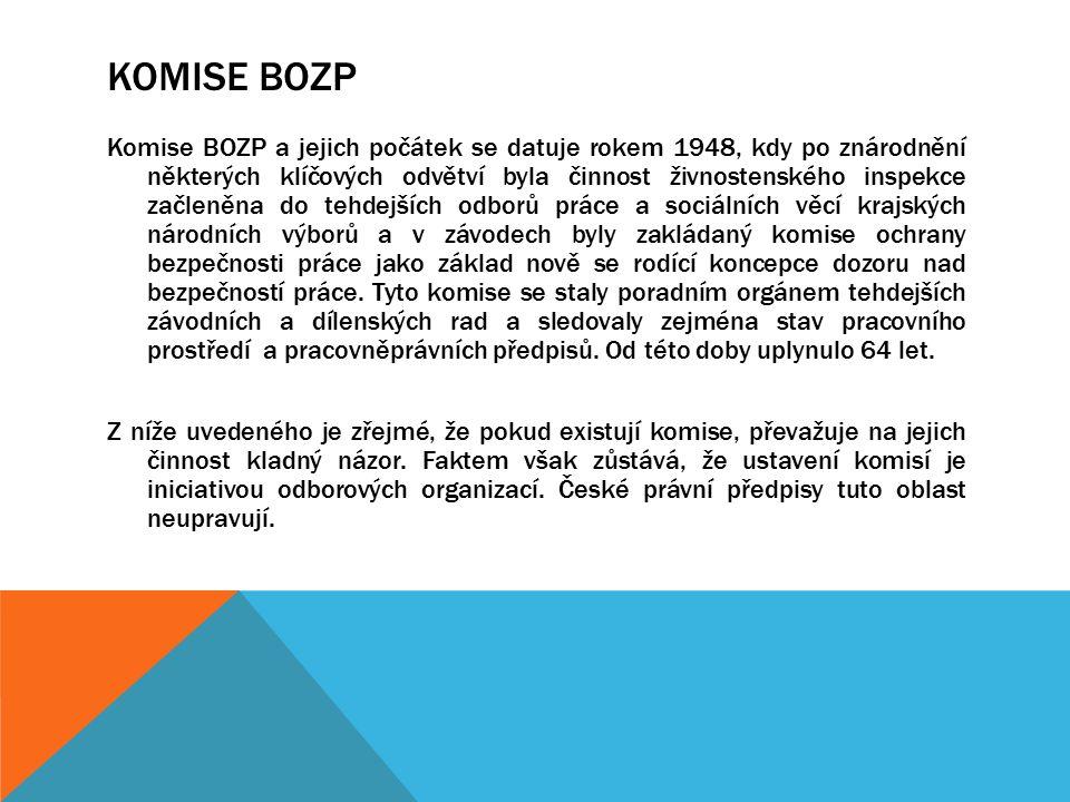 KOMISE BOZP Komise BOZP a jejich počátek se datuje rokem 1948, kdy po znárodnění některých klíčových odvětví byla činnost živnostenského inspekce začl
