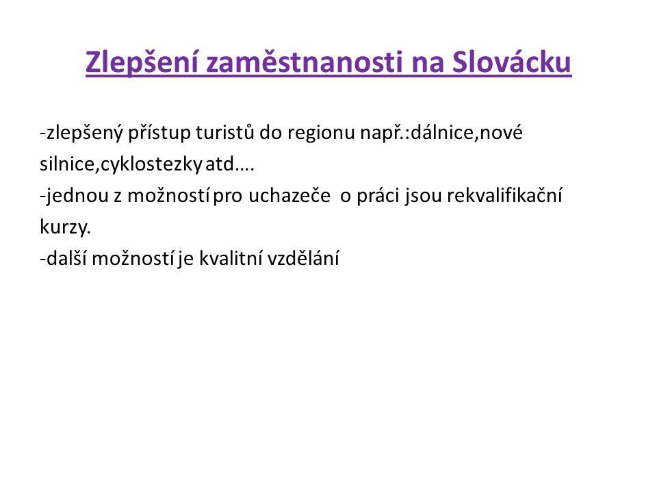 Zlepšení zaměstnanosti na Slovácku -zlepšený přístup turistů do regionu např.:dálnice,nové silnice,cyklostezky atd….