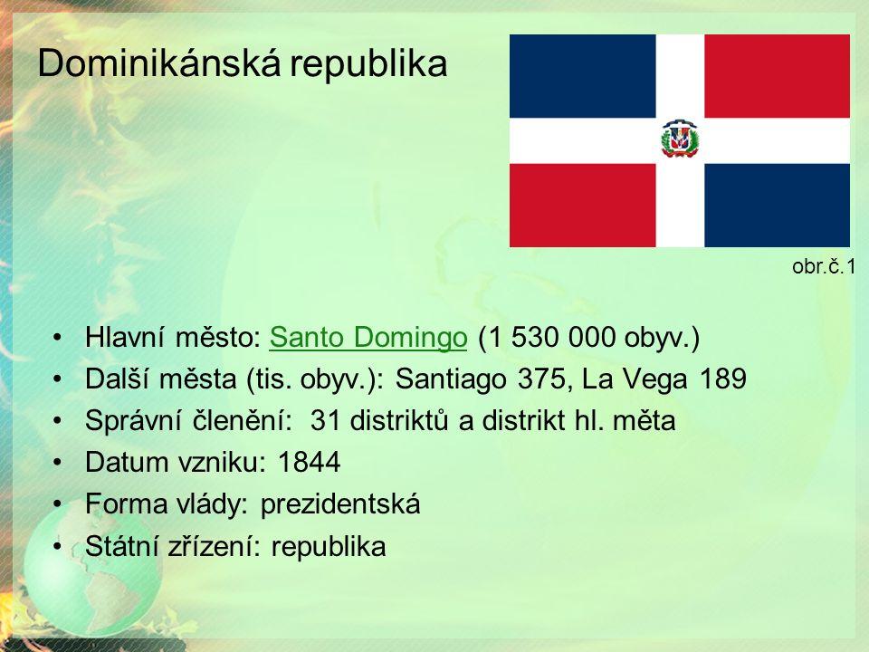 Dominikánská republika Hlavní město: Santo Domingo (1 530 000 obyv.)Santo Domingo Další města (tis. obyv.): Santiago 375, La Vega 189 Správní členění: