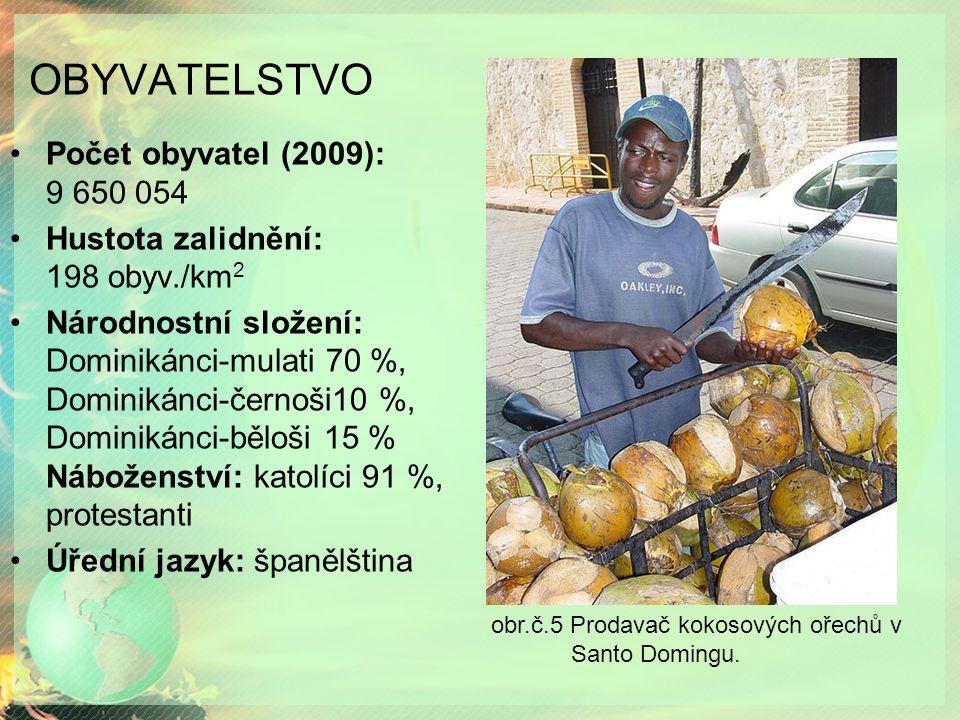 OBYVATELSTVO Počet obyvatel (2009): 9 650 054 Hustota zalidnění: 198 obyv./km 2 Národnostní složení: Dominikánci-mulati 70 %, Dominikánci-černoši10 %, Dominikánci-běloši 15 % Náboženství: katolíci 91 %, protestanti Úřední jazyk: španělština obr.č.5 Prodavač kokosových ořechů v Santo Domingu.