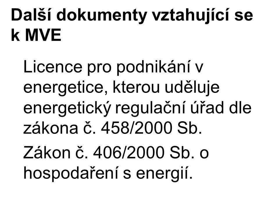 Další dokumenty vztahující se k MVE Licence pro podnikání v energetice, kterou uděluje energetický regulační úřad dle zákona č. 458/2000 Sb. Zákon č.
