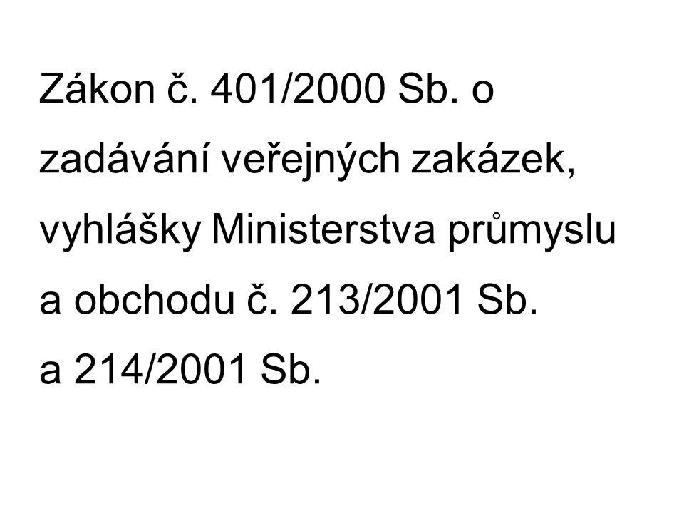 Zákon č. 401/2000 Sb. o zadávání veřejných zakázek, vyhlášky Ministerstva průmyslu a obchodu č. 213/2001 Sb. a 214/2001 Sb.