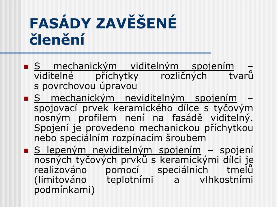 FASÁDY ZAVĚŠENÉ  Odvětrávaný plášť zaručuje optimální vlhkostní režim obvodové stěny a minimalizuje tepelnou zátěž objektu.