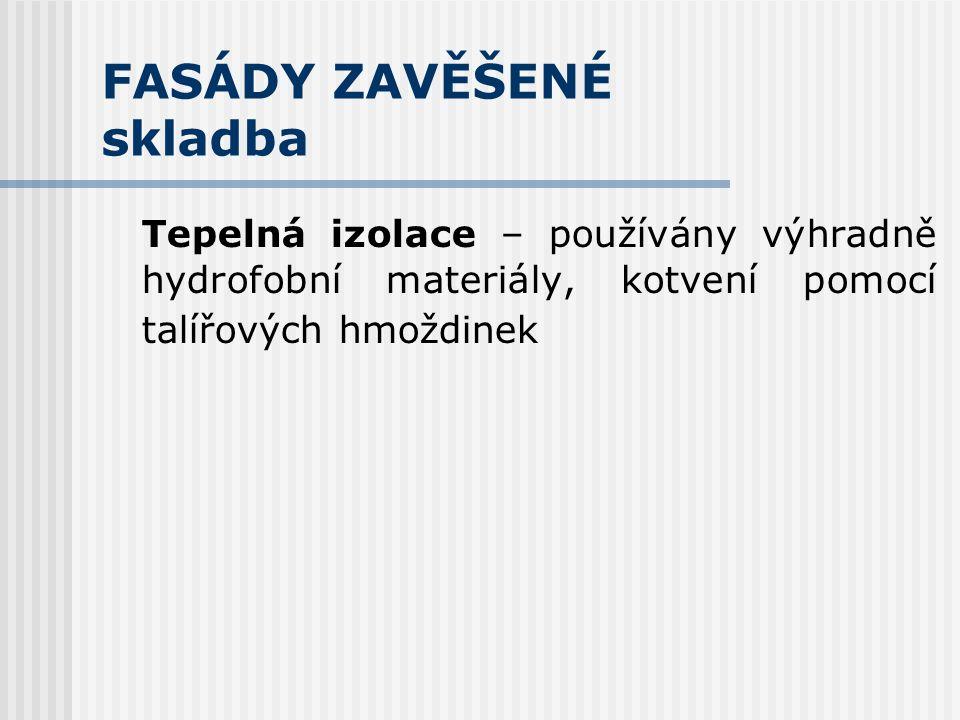 FASÁDY ZAVĚŠENÉ skladba Nosná konstrukce – plní funkci statickou - přenáší veškerá zatížení zavěšeného pláště do podkladu vč.