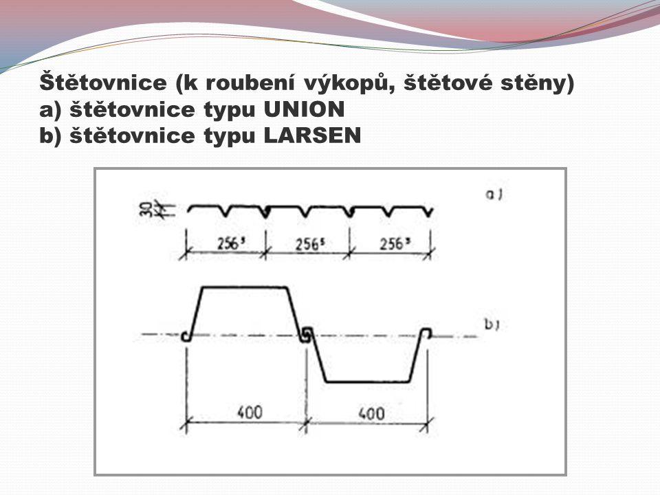 Štětovnice (k roubení výkopů, štětové stěny) a) štětovnice typu UNION b) štětovnice typu LARSEN