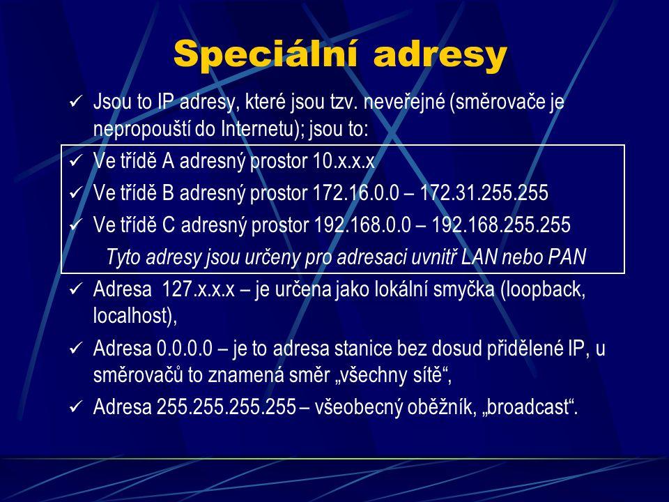 II. Epocha IP adresace Z důvodu úspornosti přidělování IP adres se zavádí tzv.