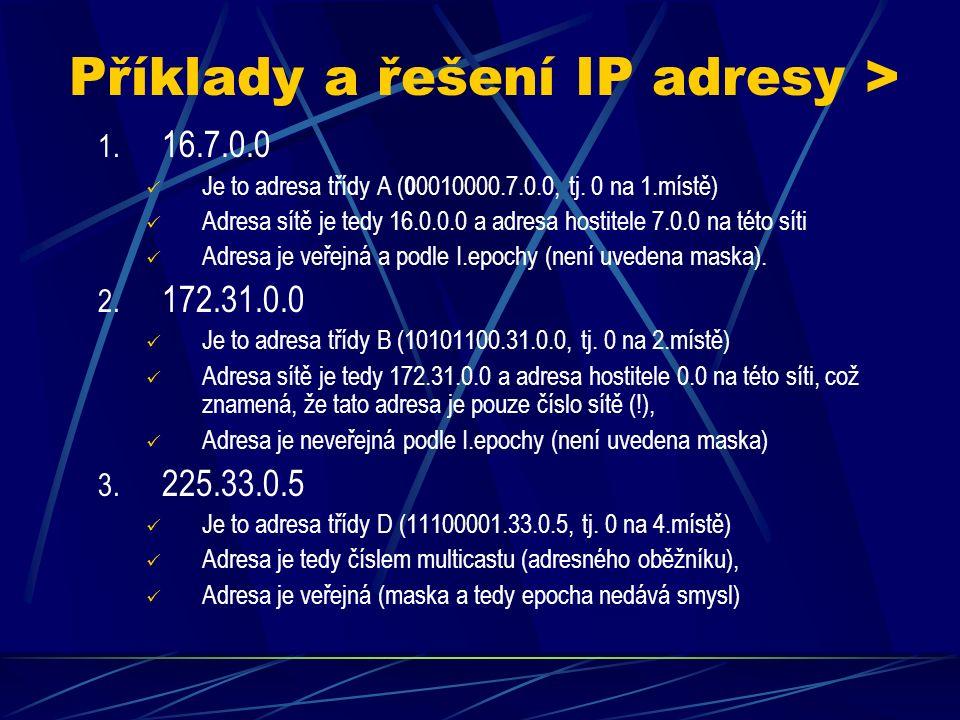 Speciální adresy Jsou to IP adresy, které jsou tzv.