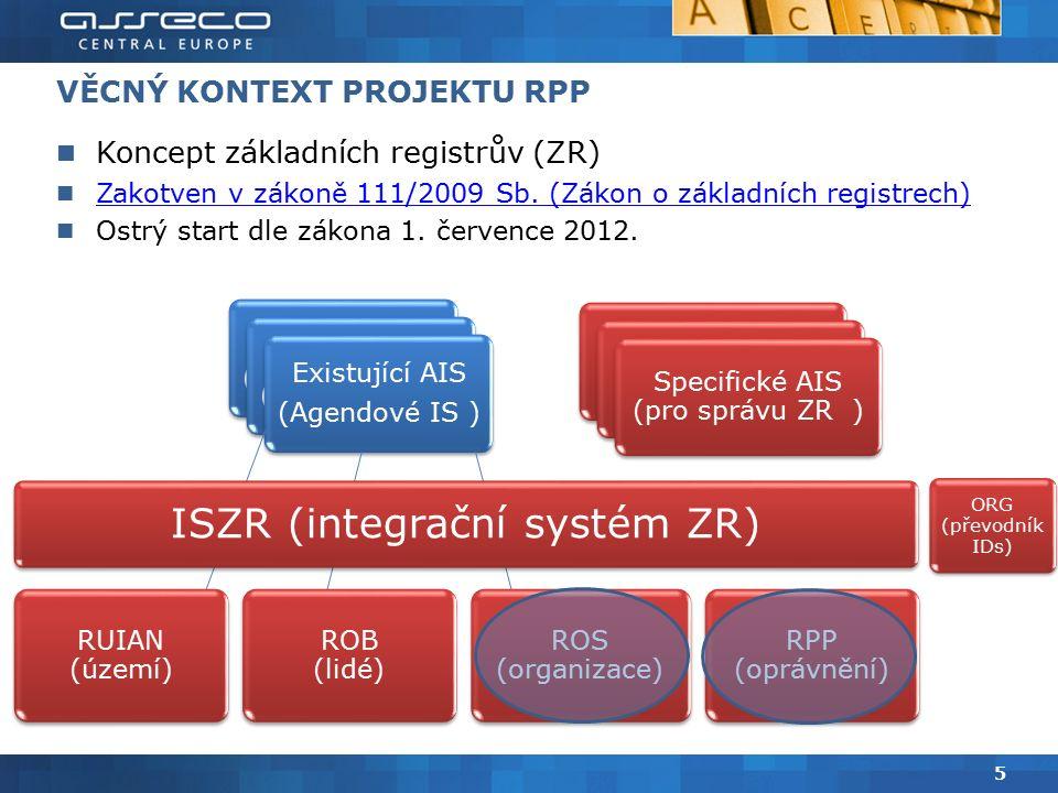 VĚCNÝ KONTEXT PROJEKTU RPP Koncept základních registrův (ZR) Zakotven v zákoně 111/2009 Sb.
