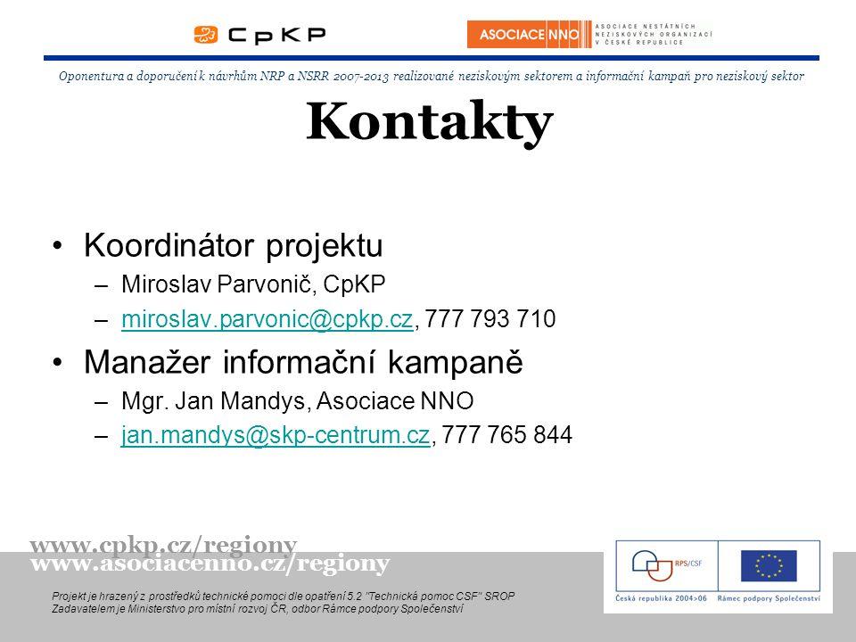Kontakty Koordinátor projektu –Miroslav Parvonič, CpKP –miroslav.parvonic@cpkp.cz, 777 793 710miroslav.parvonic@cpkp.cz Manažer informační kampaně –Mgr.