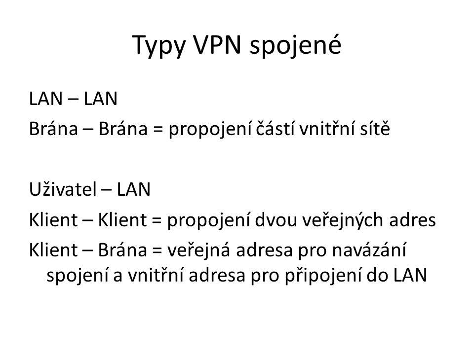 Typy VPN spojené LAN – LAN Brána – Brána = propojení částí vnitřní sítě Uživatel – LAN Klient – Klient = propojení dvou veřejných adres Klient – Brána = veřejná adresa pro navázání spojení a vnitřní adresa pro připojení do LAN