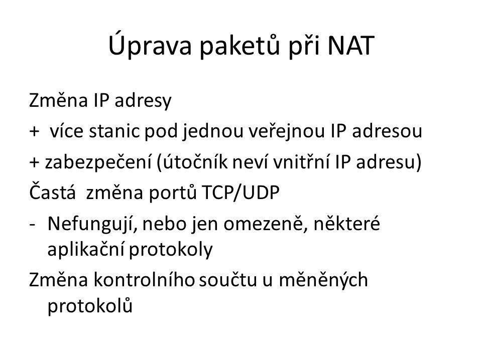 Úprava paketů při NAT Změna IP adresy + více stanic pod jednou veřejnou IP adresou + zabezpečení (útočník neví vnitřní IP adresu) Častá změna portů TCP/UDP -Nefungují, nebo jen omezeně, některé aplikační protokoly Změna kontrolního součtu u měněných protokolů