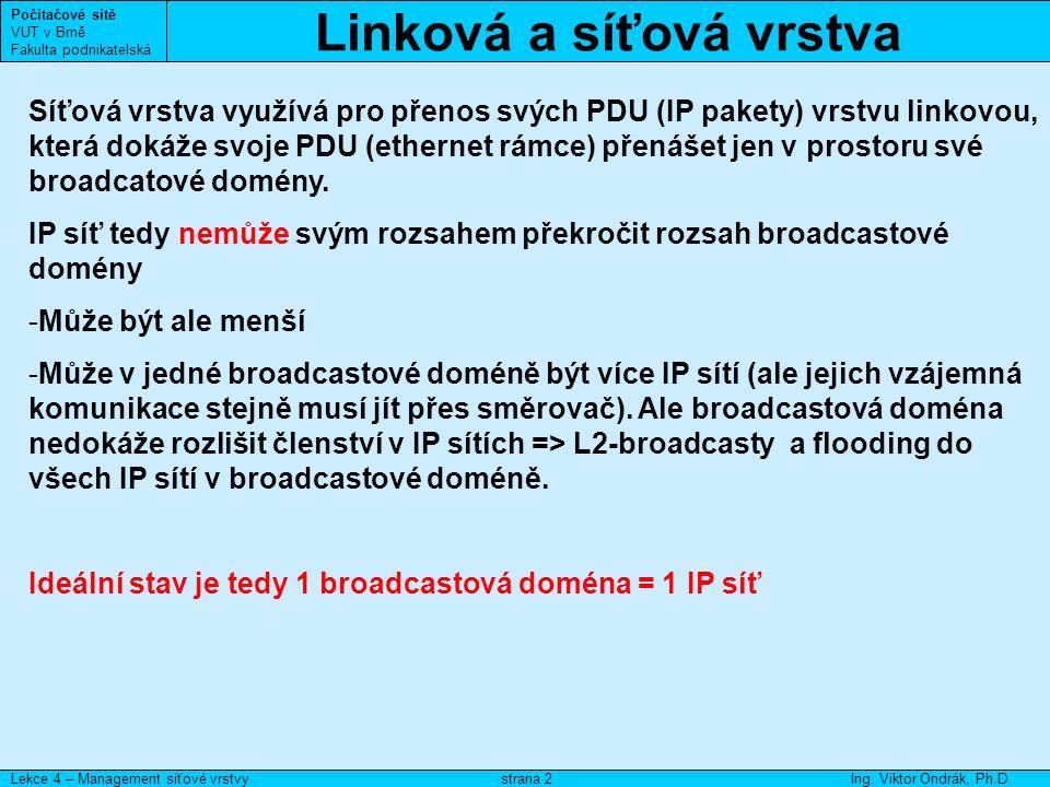 Směrování Počítačové sítě VUT v Brně Fakulta podnikatelská Lekce 4 – Management síťové vrstvyIng.