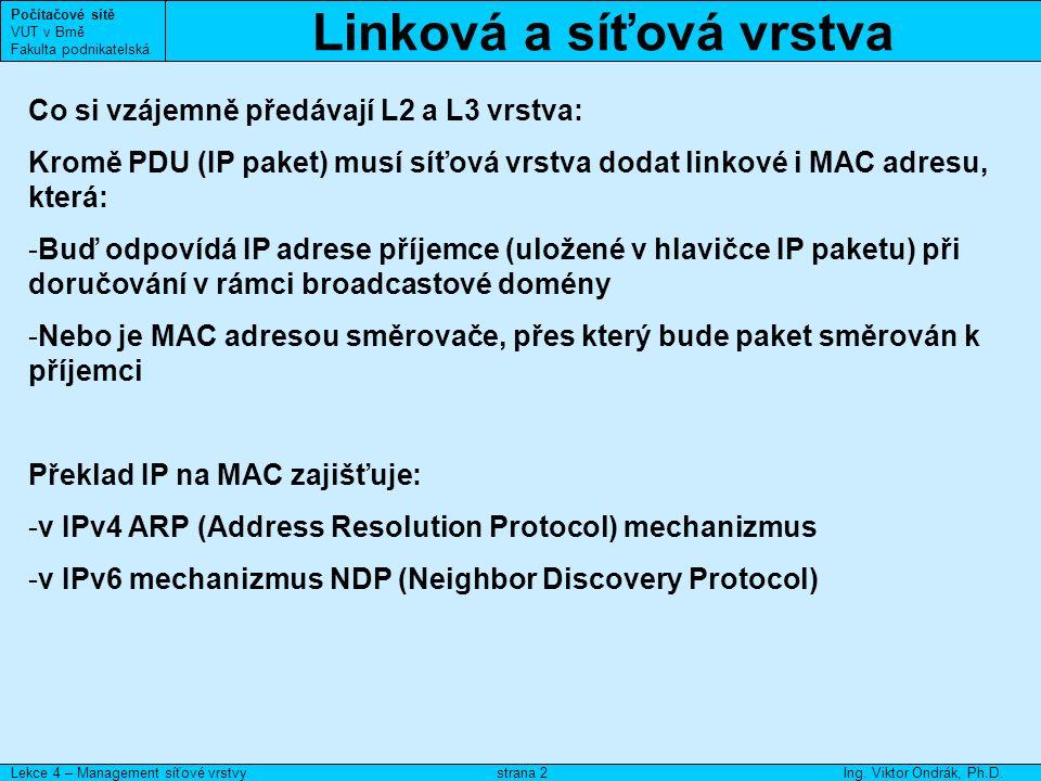ARP Počítačové sítě VUT v Brně Fakulta podnikatelská Lekce 4 – Management síťové vrstvyIng.
