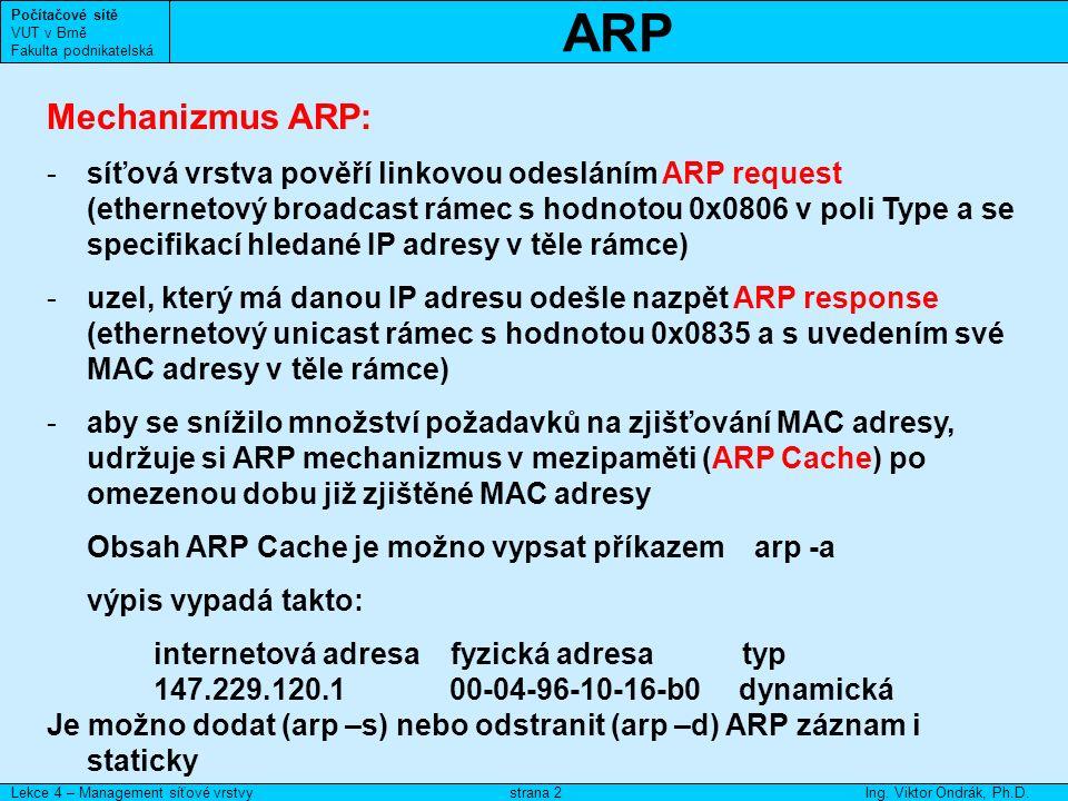 NDP Počítačové sítě VUT v Brně Fakulta podnikatelská Lekce 4 – Management síťové vrstvyIng.