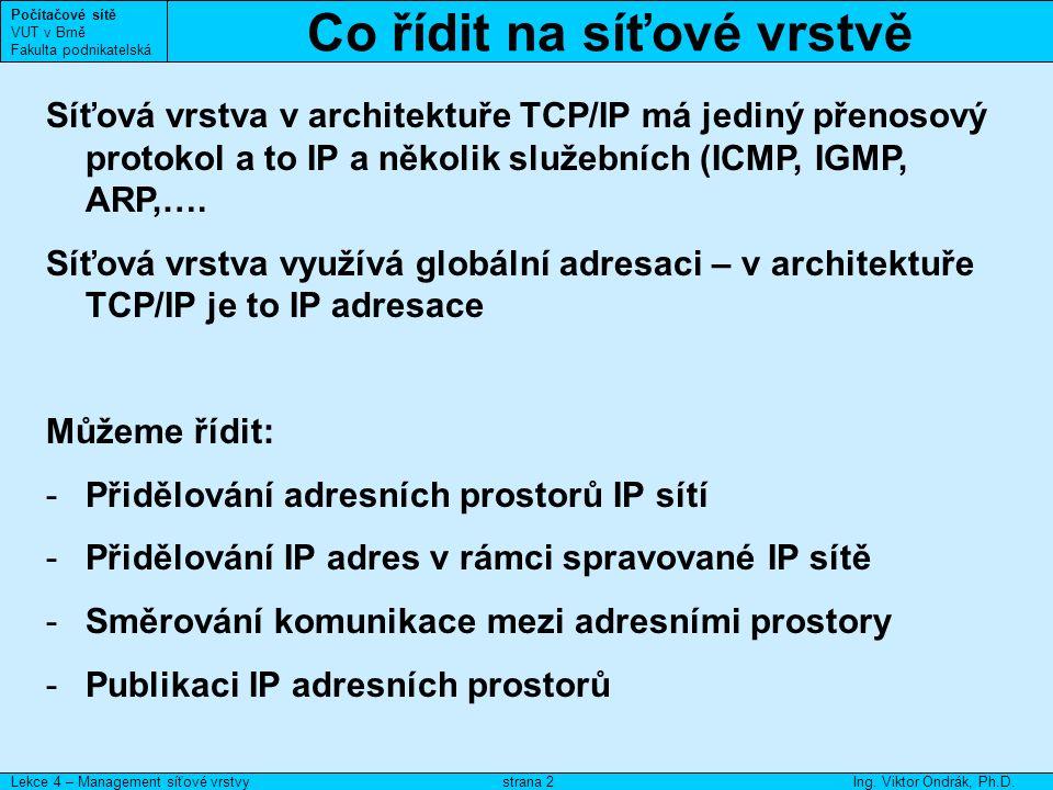 Přidělování adresních prostorů Počítačové sítě VUT v Brně Fakulta podnikatelská Lekce 4 – Management síťové vrstvyIng.