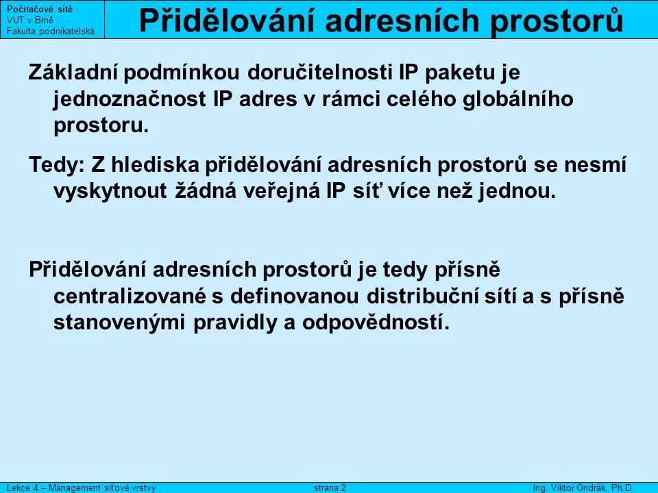 Evidence IP adres Počítačové sítě VUT v Brně Fakulta podnikatelská Lekce 4 – Management síťové vrstvyIng.