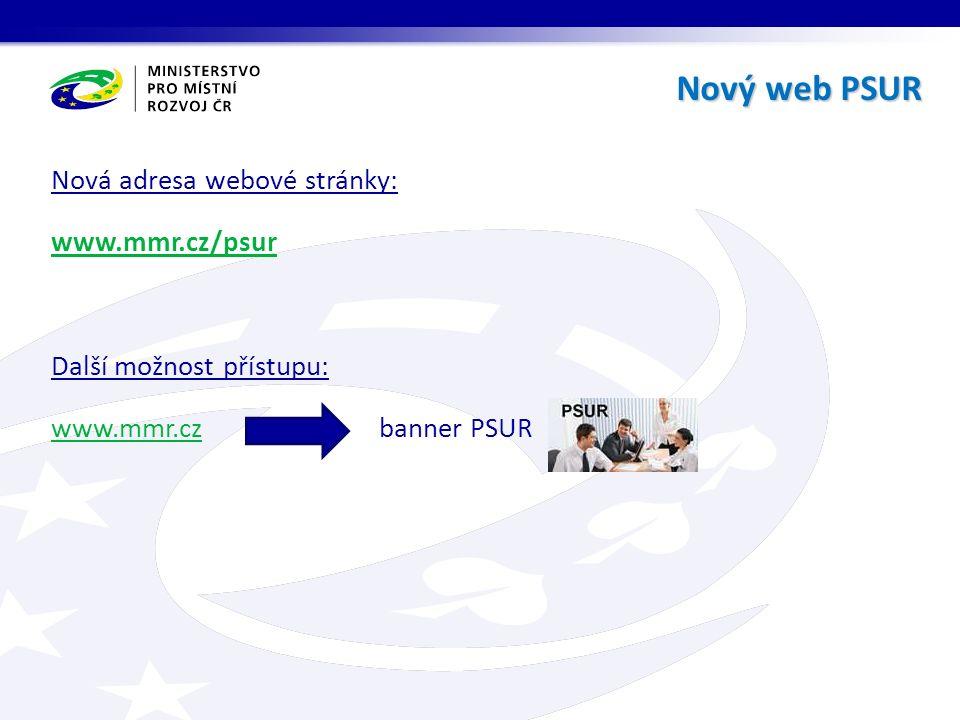 Nová adresa webové stránky: www.mmr.cz/psur Další možnost přístupu: www.mmr.czwww.mmr.cz banner PSUR Nový web PSUR