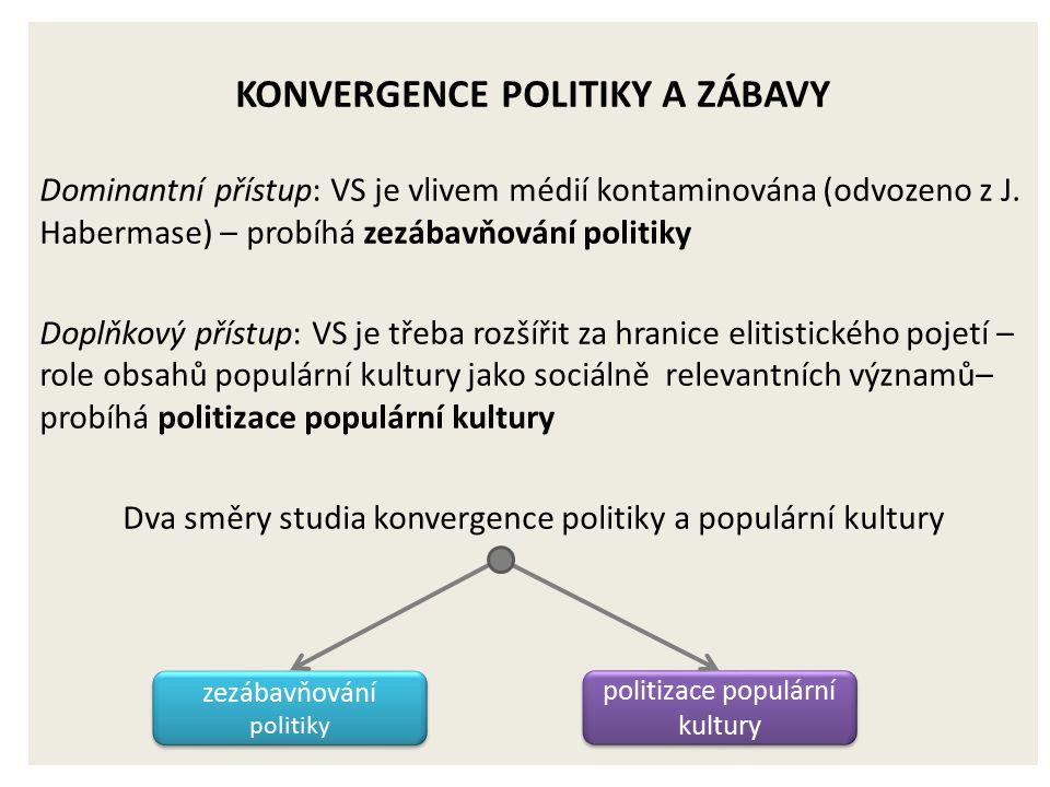 KONVERGENCE POLITIKY A ZÁBAVY Dominantní přístup: VS je vlivem médií kontaminována (odvozeno z J.