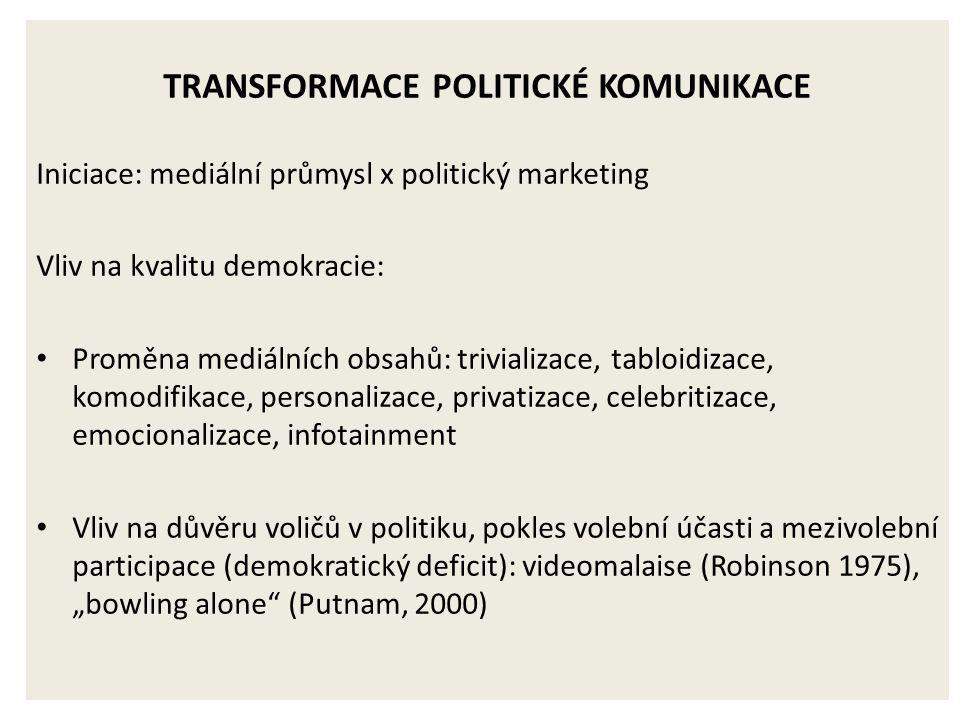 """TRANSFORMACE POLITICKÉ KOMUNIKACE Iniciace: mediální průmysl x politický marketing Vliv na kvalitu demokracie: Proměna mediálních obsahů: trivializace, tabloidizace, komodifikace, personalizace, privatizace, celebritizace, emocionalizace, infotainment Vliv na důvěru voličů v politiku, pokles volební účasti a mezivolební participace (demokratický deficit): videomalaise (Robinson 1975), """"bowling alone (Putnam, 2000)"""