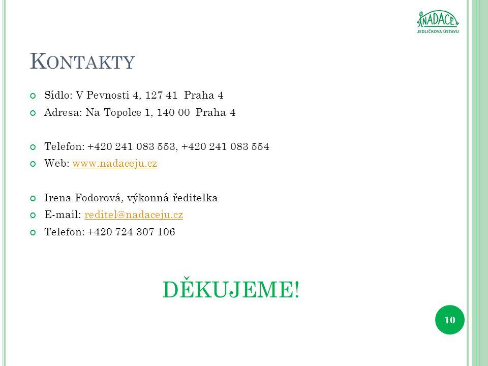 K ONTAKTY Sídlo: V Pevnosti 4, 127 41 Praha 4 Adresa: Na Topolce 1, 140 00 Praha 4 Telefon: +420 241 083 553, +420 241 083 554 Web: www.nadaceju.czwww.nadaceju.cz Irena Fodorová, výkonná ředitelka E-mail: reditel@nadaceju.czreditel@nadaceju.cz Telefon: +420 724 307 106 DĚKUJEME.