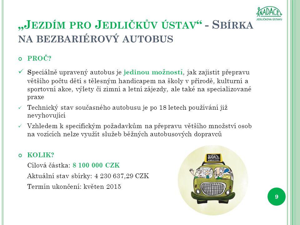 """J EZDÍM PRO J EDLIČKŮV ÚSTAV - S BÍRKA NA BEZBARIÉROVÝ AUTOBUS PROČ."