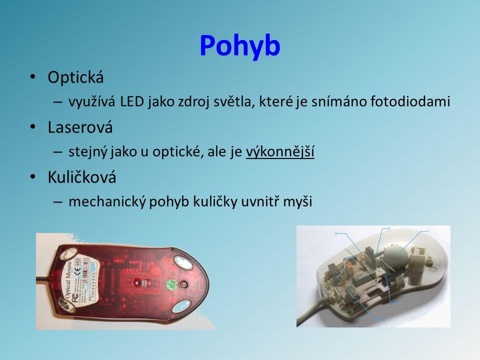 Pohyb Optická – využívá LED jako zdroj světla, které je snímáno fotodiodami Laserová – stejný jako u optické, ale je výkonnější Kuličková – mechanický pohyb kuličky uvnitř myši