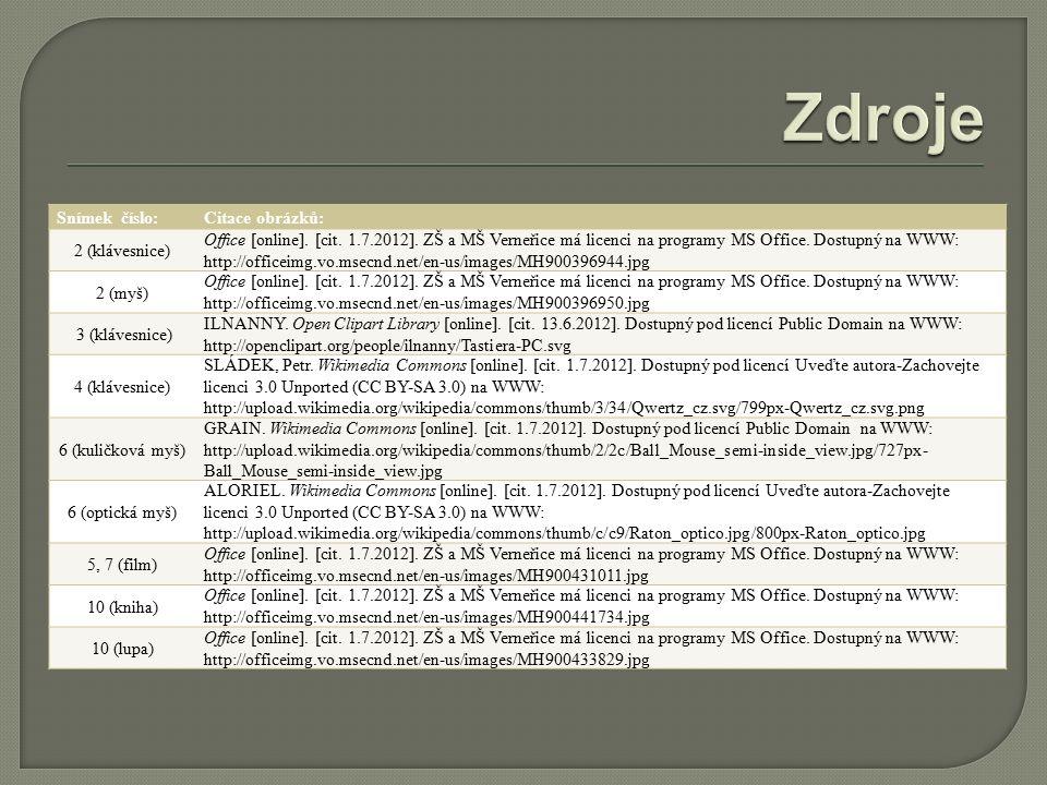 Snímek číslo:Citace obrázků: 2 (klávesnice) Office [online].