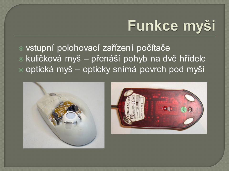  vstupní polohovací zařízení počítače  kuličková myš – přenáší pohyb na dvě hřídele  optická myš – opticky snímá povrch pod myší