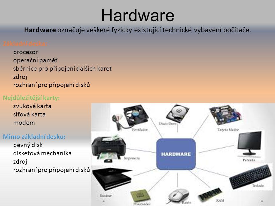 Hardware Hardware Hardware označuje veškeré fyzicky existující technické vybavení počítače.