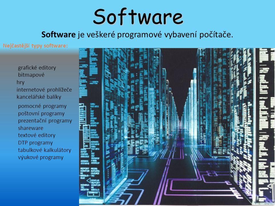 Software Software je veškeré programové vybavení počítače.