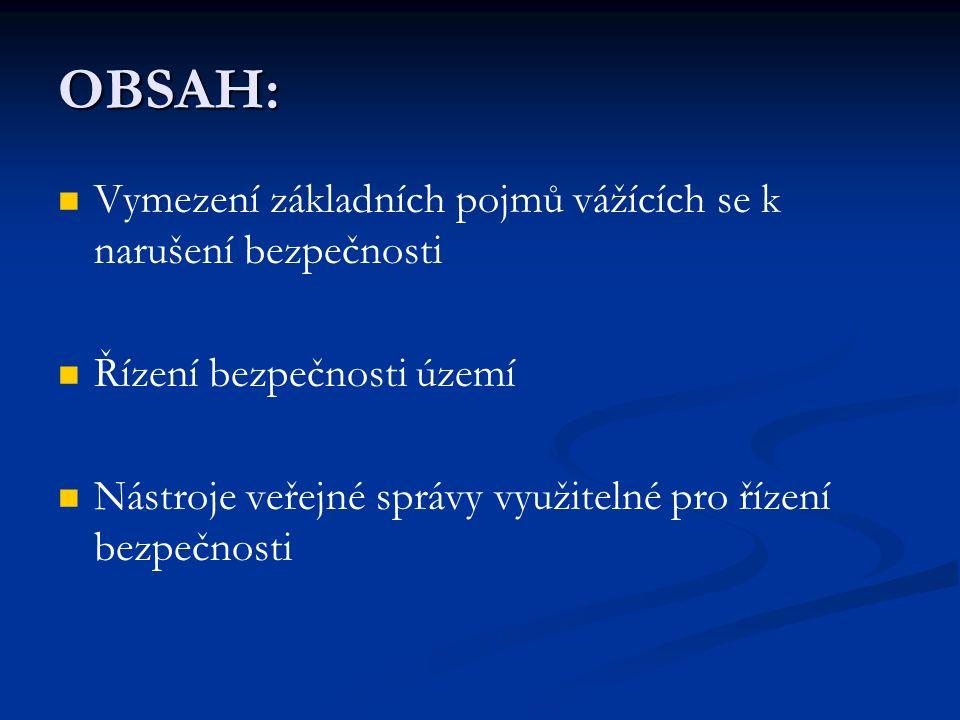 OBSAH: Vymezení základních pojmů vážících se k narušení bezpečnosti Řízení bezpečnosti území Nástroje veřejné správy využitelné pro řízení bezpečnosti