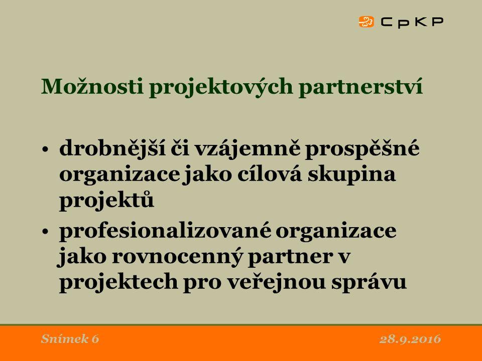 28.9.2016Snímek 6 Možnosti projektových partnerství drobnější či vzájemně prospěšné organizace jako cílová skupina projektů profesionalizované organizace jako rovnocenný partner v projektech pro veřejnou správu