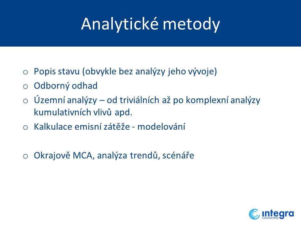 Analytické metody o Popis stavu (obvykle bez analýzy jeho vývoje) o Odborný odhad o Územní analýzy – od triviálních až po komplexní analýzy kumulativních vlivů apd.