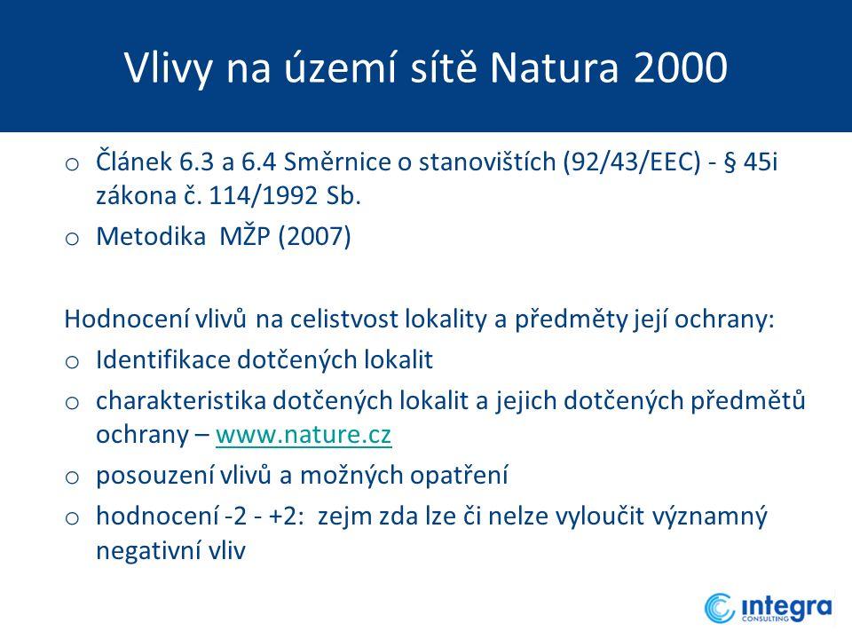Vlivy na území sítě Natura 2000 o Článek 6.3 a 6.4 Směrnice o stanovištích (92/43/EEC) - § 45i zákona č. 114/1992 Sb. o Metodika MŽP (2007) Hodnocení