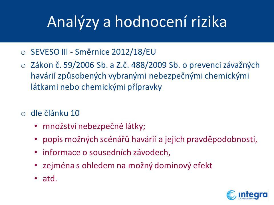 Analýzy a hodnocení rizika o SEVESO III - Směrnice 2012/18/EU o Zákon č. 59/2006 Sb. a Z.č. 488/2009 Sb. o prevenci závažných havárií způsobených v