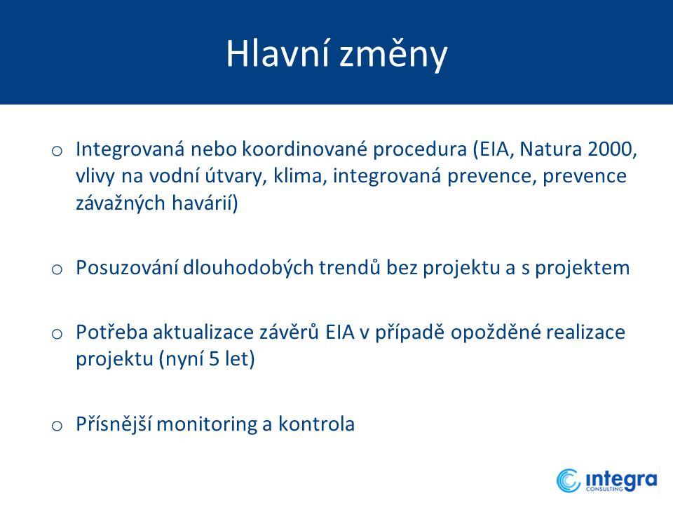 Hlavní změny o Integrovaná nebo koordinované procedura (EIA, Natura 2000, vlivy na vodní útvary, klima, integrovaná prevence, prevence závažných havárií) o Posuzování dlouhodobých trendů bez projektu a s projektem o Potřeba aktualizace závěrů EIA v případě opožděné realizace projektu (nyní 5 let) o Přísnější monitoring a kontrola