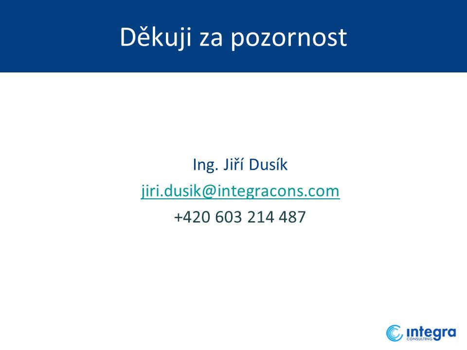 Děkuji za pozornost Ing. Jiří Dusík jiri.dusik@integracons.com +420 603 214 487